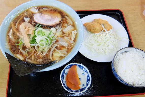 正油ラーメン+Eセット(カキフライ・小ライス)