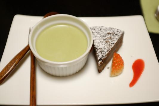 デザート(抹茶杏仁豆腐&ショコラ)