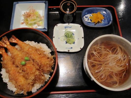 えび天丼+小かけそばセット (950円+200円)