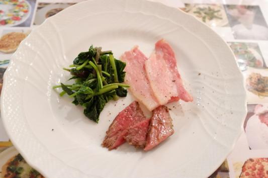 前菜3品(あしたば+パンツェッタ+ローストビーフ)