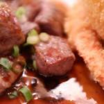 角切りステーキ&シーフードフライ 肉あっぷw