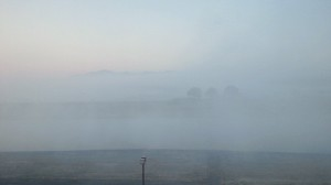 朝もやに煙る菊池川