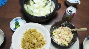 ある日の夕食(もやし炒めと湯鱈)